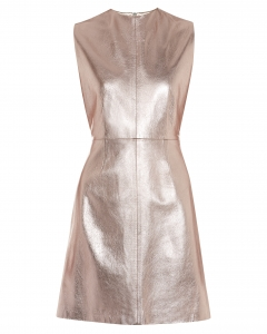 Fitted foil leather dress_bronze