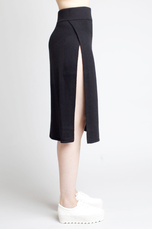 Charlie May black knit split skirt