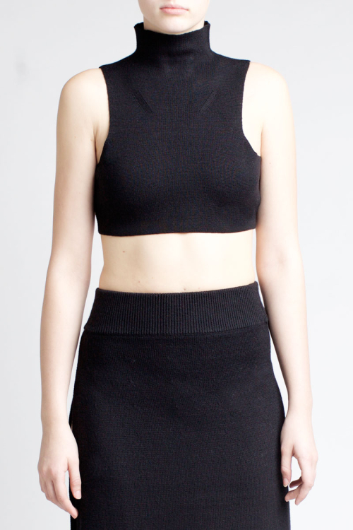 Charlie May black crop polo top