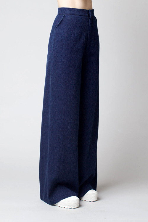 Charlie May Indigo Twill Wide Leg Trousers