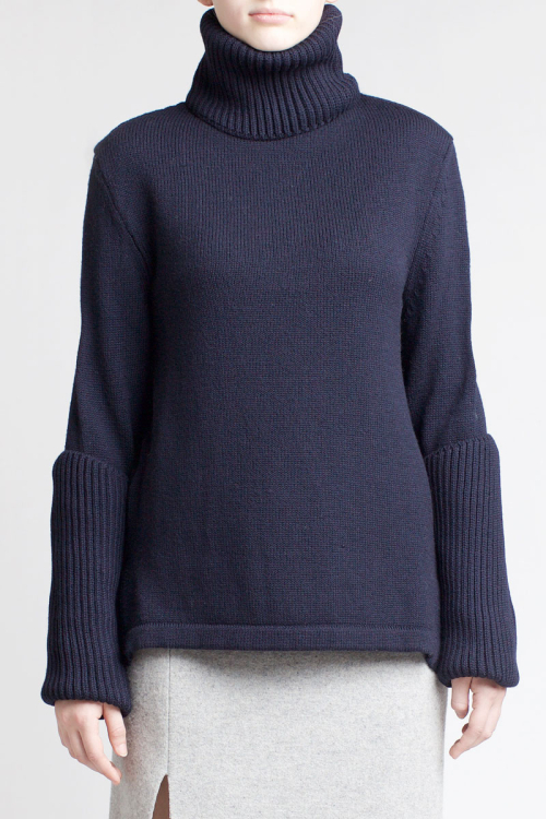 Charlie May Navy polo Knit Jumper