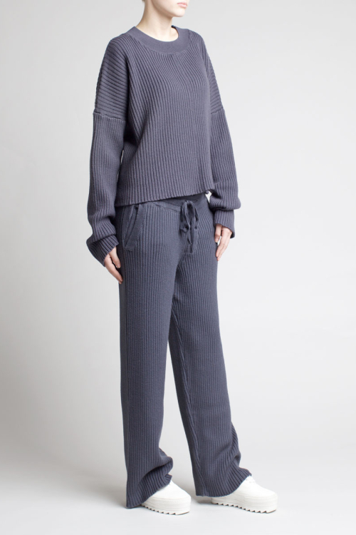 Charlie May Ribbed Track Suit Charcoal