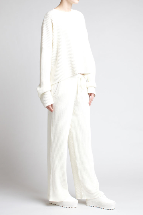 Charlie May Ribbed Track Suit White