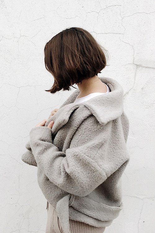 Charlie May Cement alpaca cropped coat