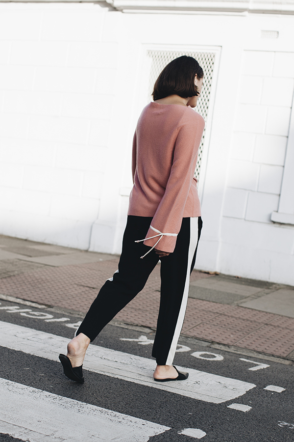 CMMC Striped Cashmere Track Pants back